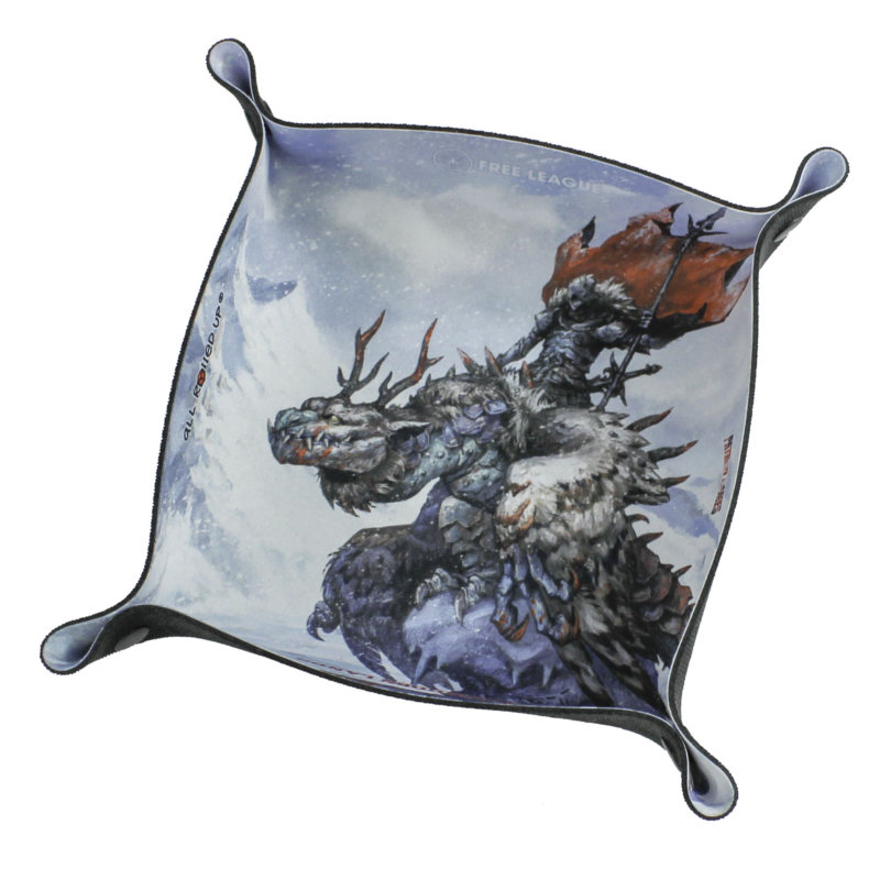 Pale blue All Rolled Up folding neoprene dice tray featuring image of dragon and warrior rider from Free League's The Bitter Reach